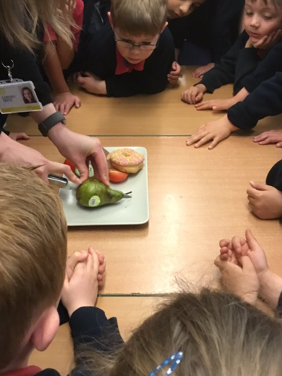test Twitter Media - Today we started looking at fractions. We focused on halving, which means splitting into two equal parts. We did a great job helping the teacher cut these objects in half and thinking about different ways shapes and objects can be halved #gorseymaths https://t.co/ZUbfZmSuar