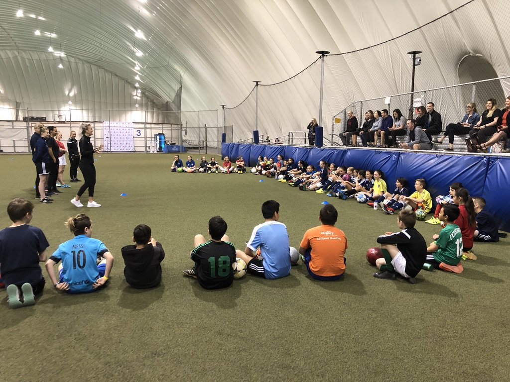 Nearly 200 Calgary players participated in the @AllstateCanada High Performance Soccer Clinic on Saturday with @KaylynKyle. Big thanks to our Calgary-based coaches for supporting the event. See you next year!