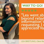 Image for the Tweet beginning: Way to Go, Lea! #EmployeeShoutout