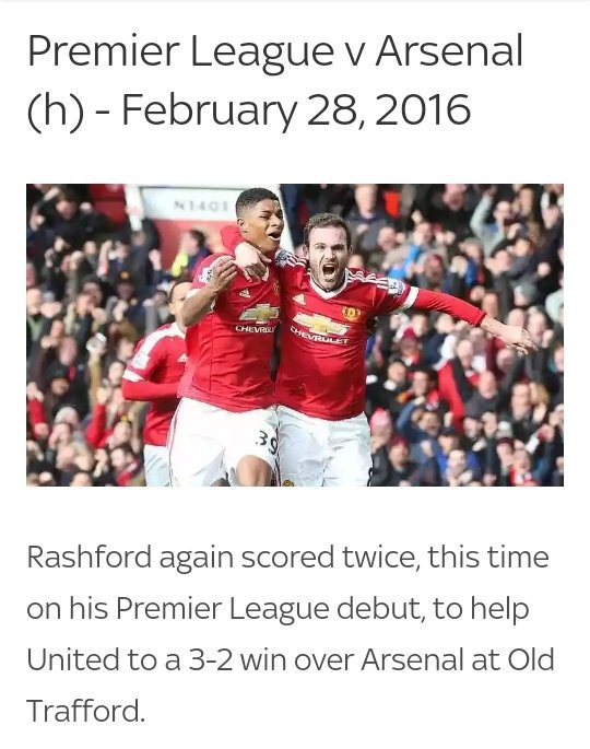 Didn't rashford score on his debut? Against a very good team arsenal team on top of that. Just stating facts...
