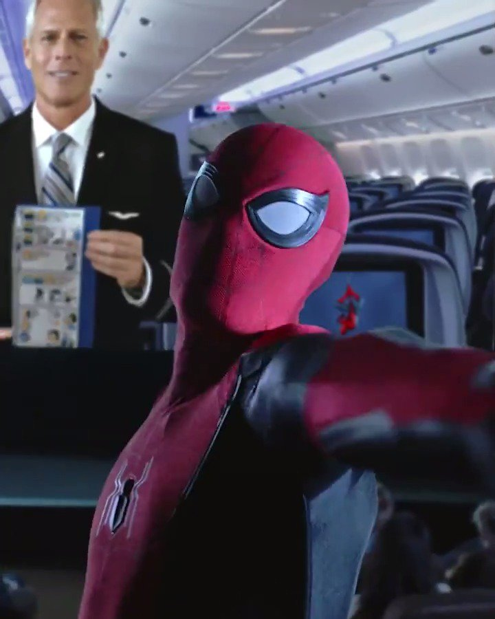 Aaaaand action!  Our new safety video, featuring a certain friendly neighborhood Spider-Man, is now onboard 🍿 #SpiderManFarFromHome 7.2 http://united.com/SpiderManMovie