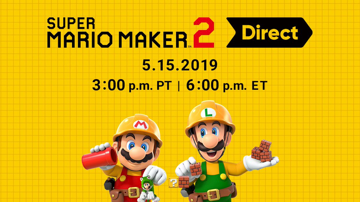 Tune in on Wednesday, May 15 at 3 p.m. PT / 6 p.m. ET for a roughly 15-minute presentation packed with information all about #SuperMarioMaker2 for #NintendoSwitch.