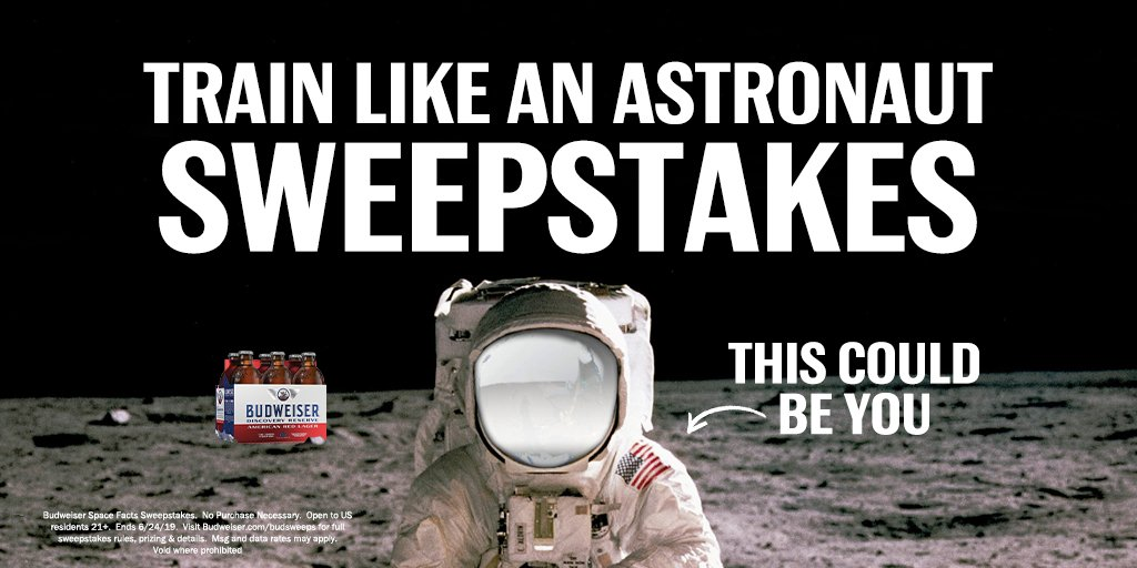 We can't send you to the moon just yet, but you could win the next best thing. 🚀  Until 6/24, tweet out your favorite #BudSpaceFacts from us every week for the chance to head to Houston for astronaut training. #SpaceBeer #Sweepstakes