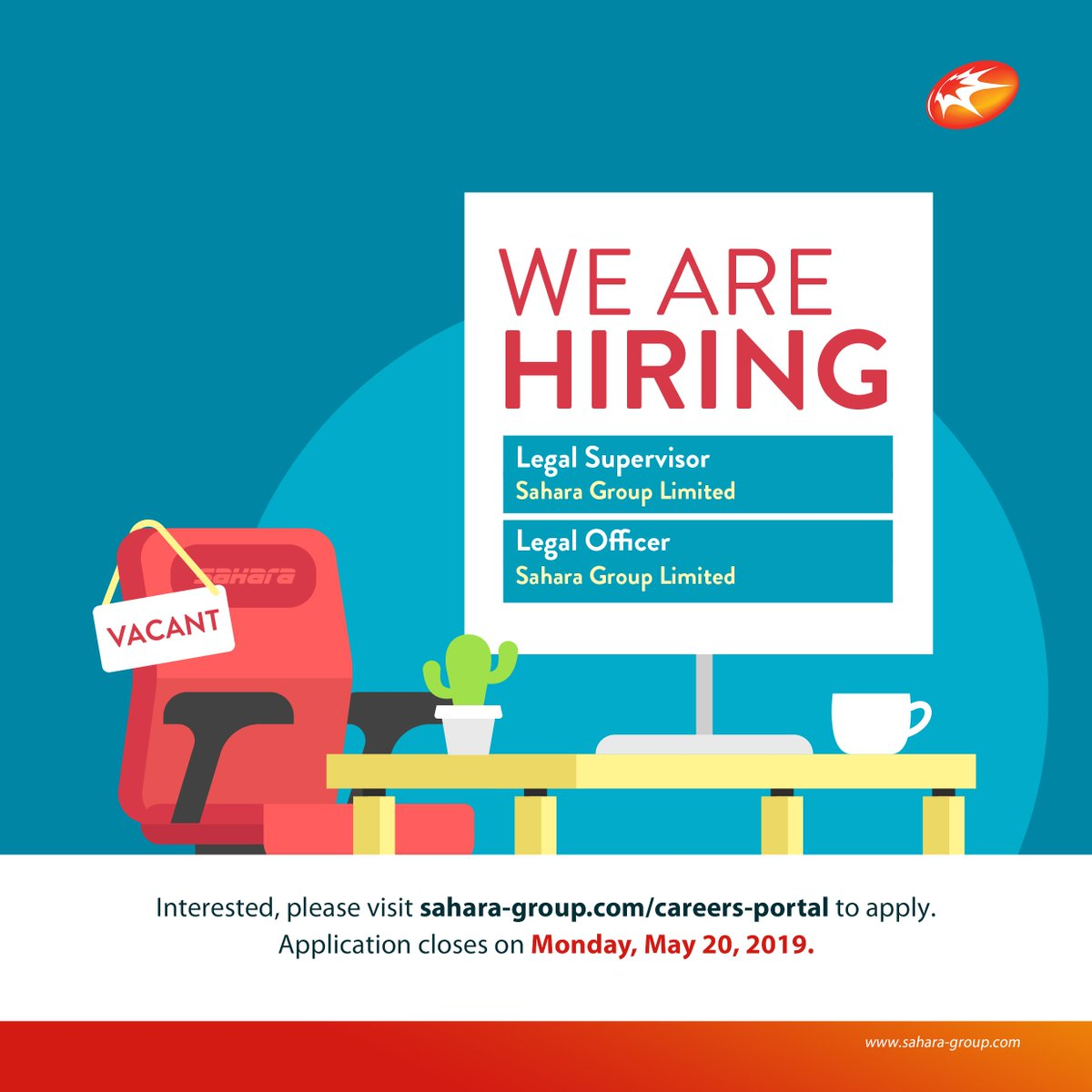 We are currently accepting applications for the following positions: 1. Legal Supervisor 2. Legal Office  To apply, please click link:  http://www. sahara-group.com/careers-portal/  &nbsp;    Application window closes on Monday, May 20th.  #WeAreSahara #BringingEnergyToLife<br>http://pic.twitter.com/cMqTSsrzhQ
