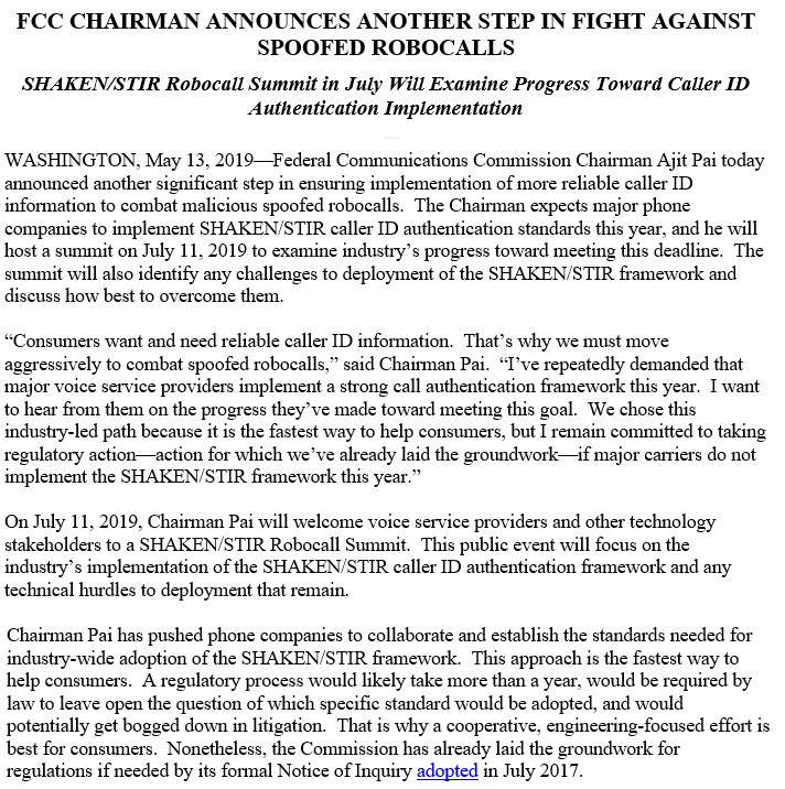 test Twitter Media - To help address #robocalls--top category of consumer complaints to @FCC--I've demanded that phone companies implement caller ID authentication standards this year. On July 11, we'll host a summit to assess their progress. If the deadline isn't met, we'll take regulatory action. https://t.co/hQyDOTg9R0