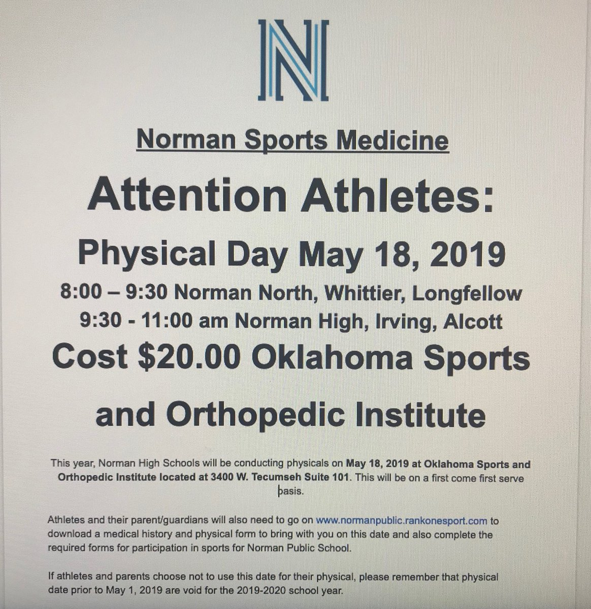 sports physical form oklahoma  Norman Sports Med (@nomansportmed) | Twitter