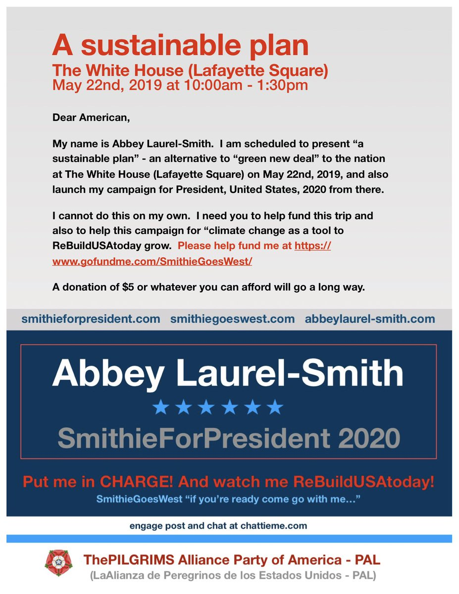 """I will be making a public speech and a live broadcast about """"a sustainable plan"""" as a better and more comprehensive alternative to """"green new deal"""" at Lafayette square, in front of the White House on 05/22/2019 at 11:00am. I need your support."""