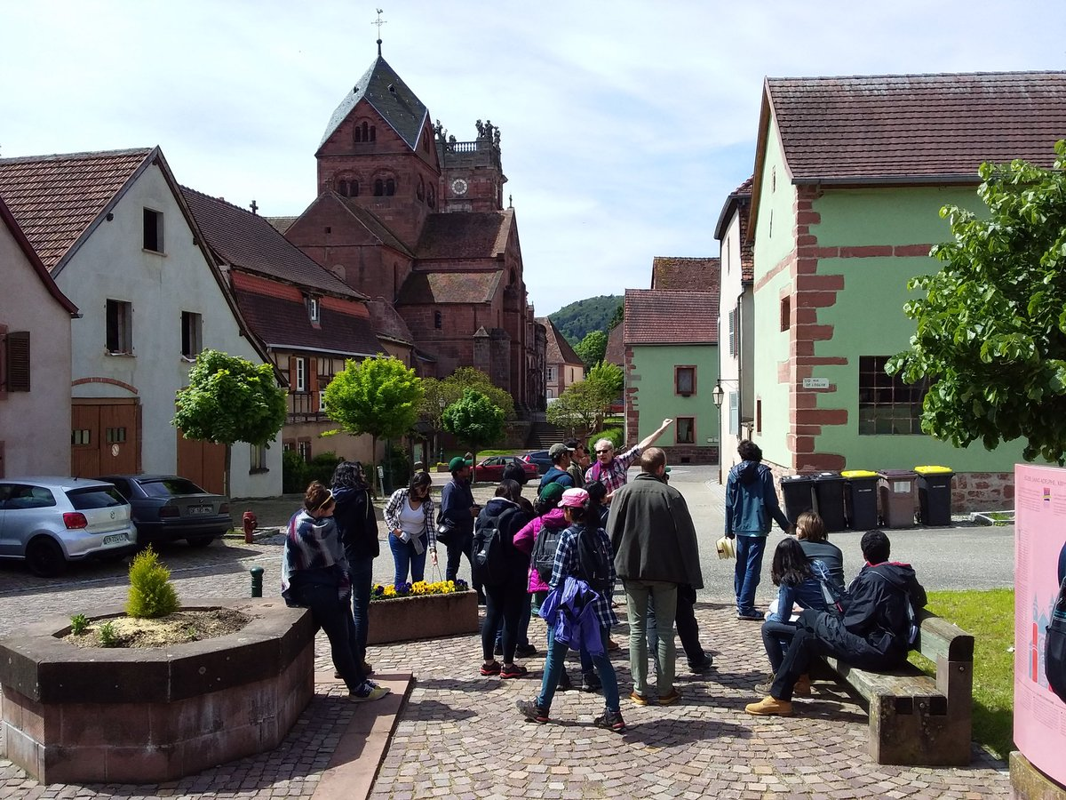 Today we welcome European Forestry @UniEastFinland master students for field courses. 18 international students from Asia, South America, Africa and Europ. Before forest ecology and management #Alsace history and architecture in Neuwiller-les-Saverne with Yves Ehrhart.