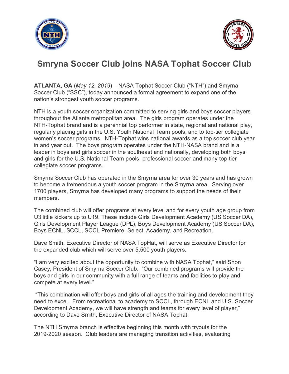 27aec4228 Smyrna Soccer Club are proud to announce a merger with NASA Tophat for the  2019 2020 season! See the press release for more  information.pic.twitter.com  ...