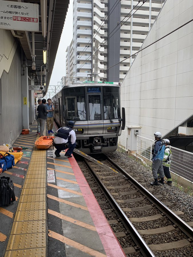 琵琶湖線の南草津駅で人身事故が起きた現場画像