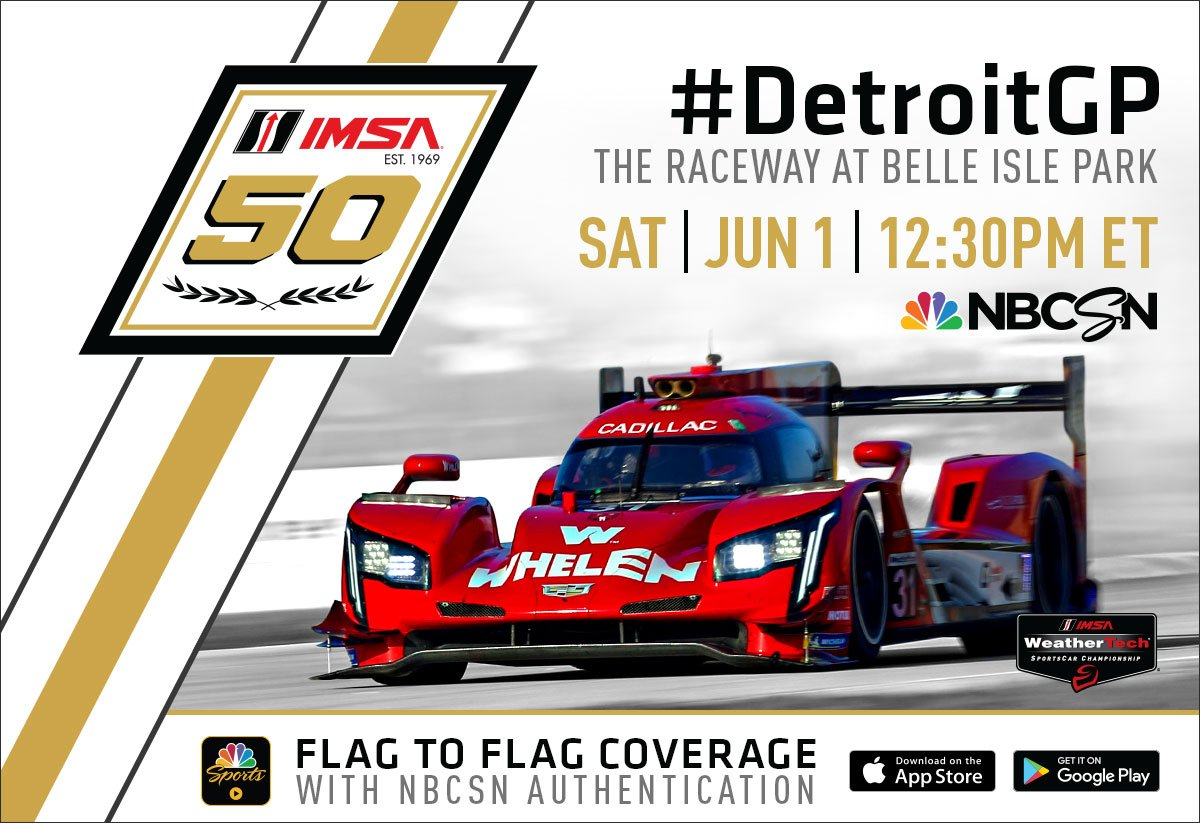 Were getting closer to @detroitgp! Remember you can tune in to @nbcsn to catch flag-to-flag coverage! #IMSA / #DetroitGP