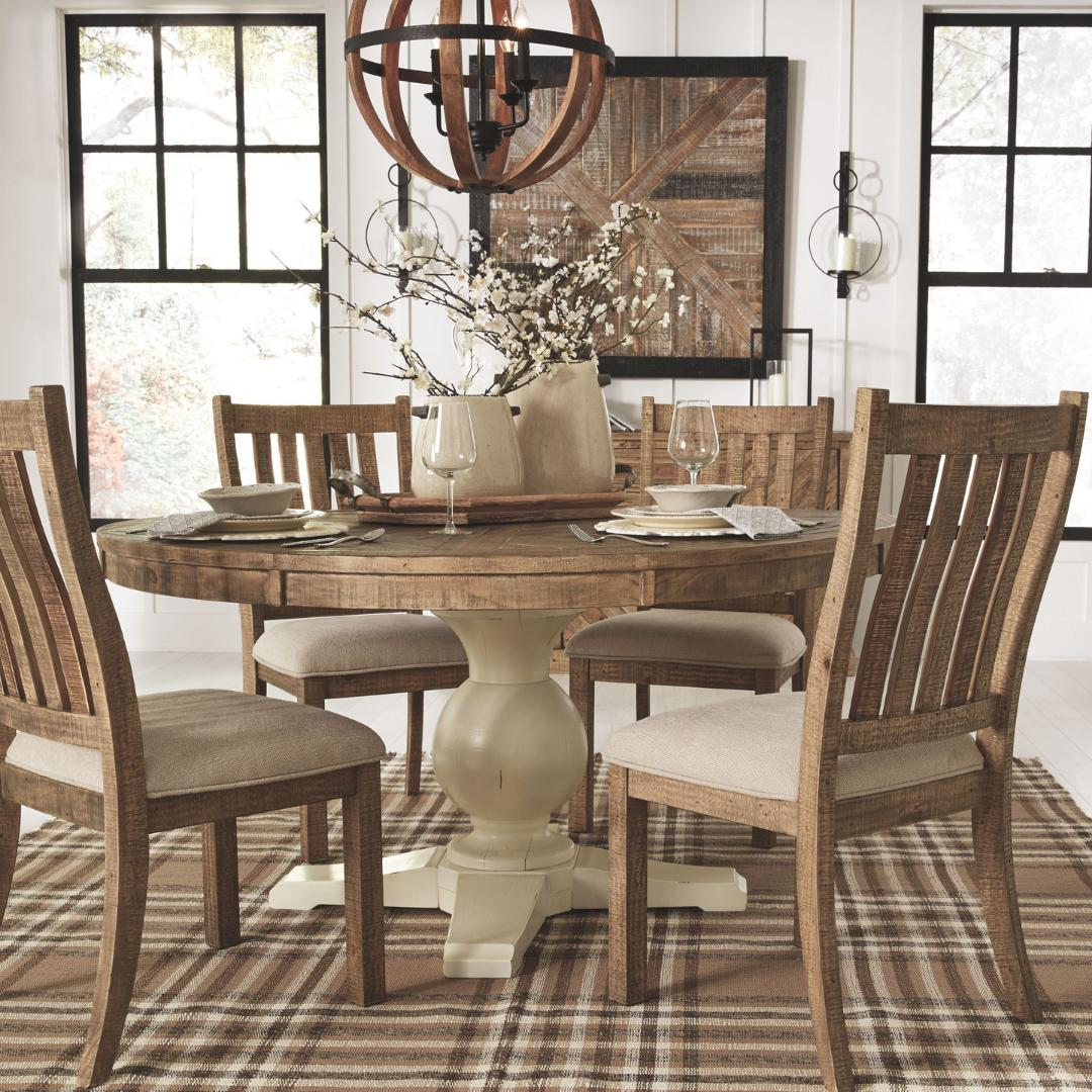 Who Else Loves The Farmhouse And Rustic Look To Their Home This Grindleburg Light Brown Dining Room Table Is An Essential Piece Your E