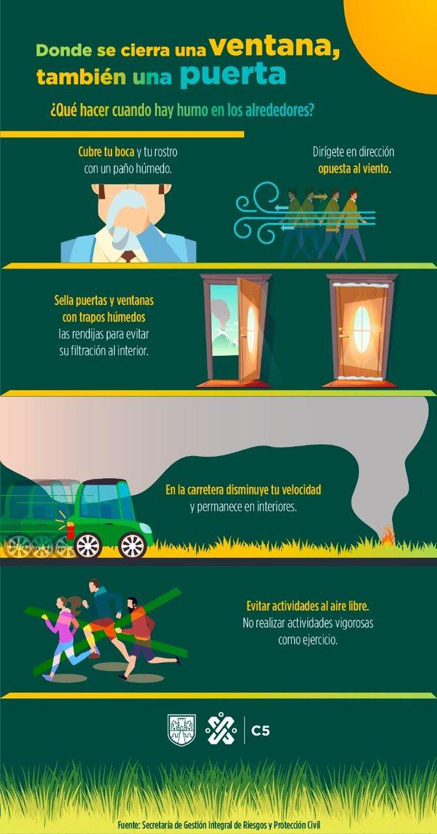 Cierra las ventanas y remacha con trapos las puertas de tu hogar en caso de que un incendio esté cerca, pues entrará el humo 💨 con mucha facilidad. #EmergenciasC5 #C5 #911CDMX