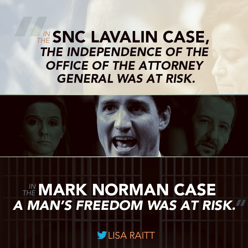 Justin Trudeau's handling of the SNC Lavalin scandal, and now with the Mark Norman case, has shown the Prime Minister has no respect for the rule of law.  #cdnpoli