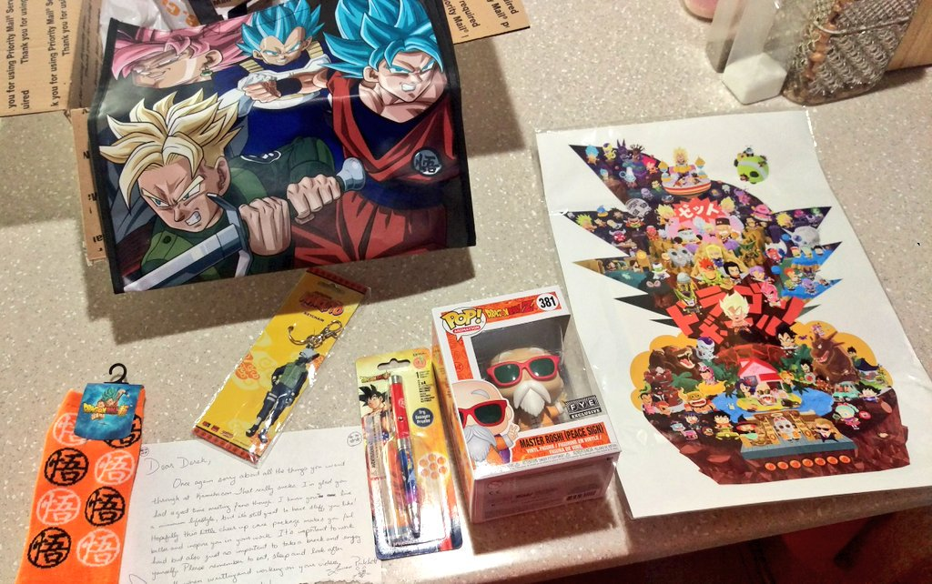 A Dragon Ball care package just arrived from my friend, Lauren. Amazing #DBZ and #Naruto gifts!