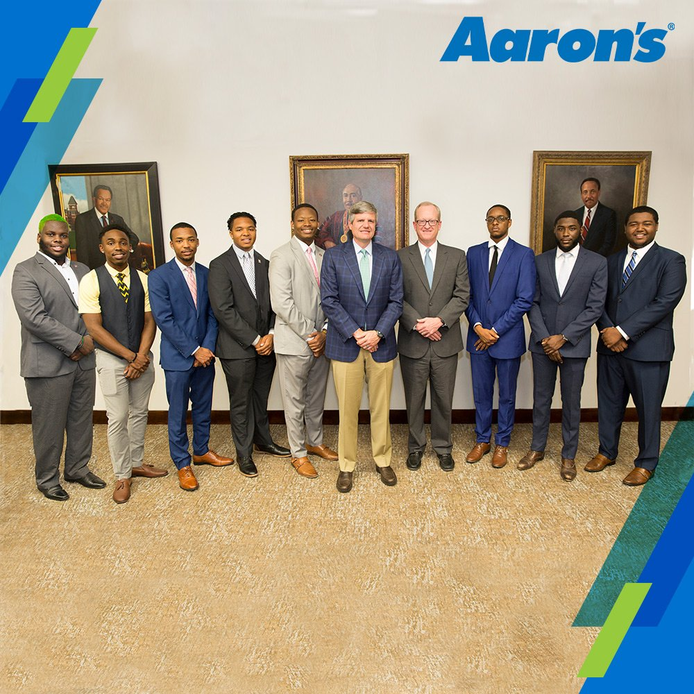 """Aaron's and Progressive Leasing, announced the names of the 20 Morehouse College Students inducted into the """"Aaron's Scholars Program."""" Each student in the program will receive a 3-year, $50,000 scholarship. #AaronsGives #GreatFutures"""
