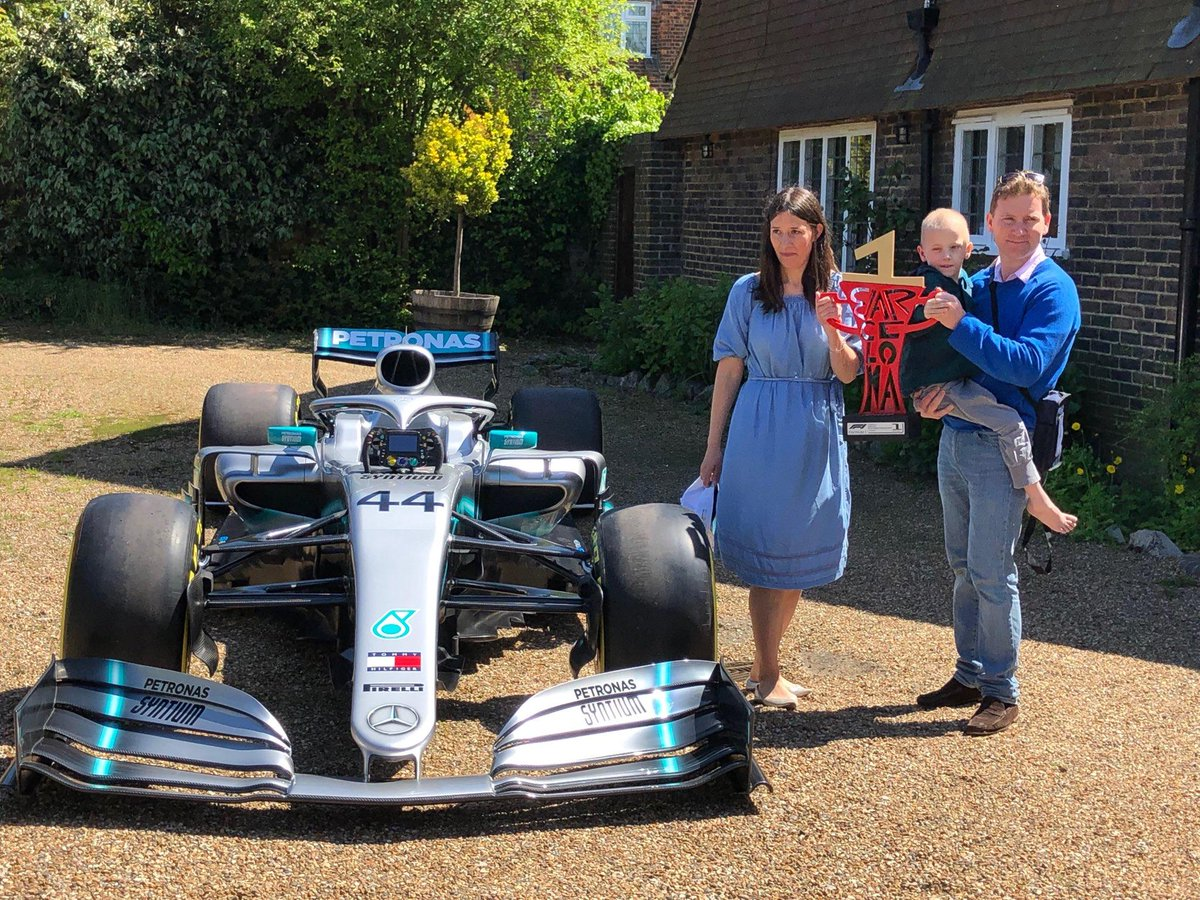 Terminally ill Harry Shaw sent @LewisHamiltonand @MercedesAMGF1a good luck message ahead of the Spanish Grand Prix   They responded by sending his car and winning trophy to Harry's home 👀 🏆   Harry's fundraising page: https://giantpledge.com/harrysgiantpledge…  📷 @PA