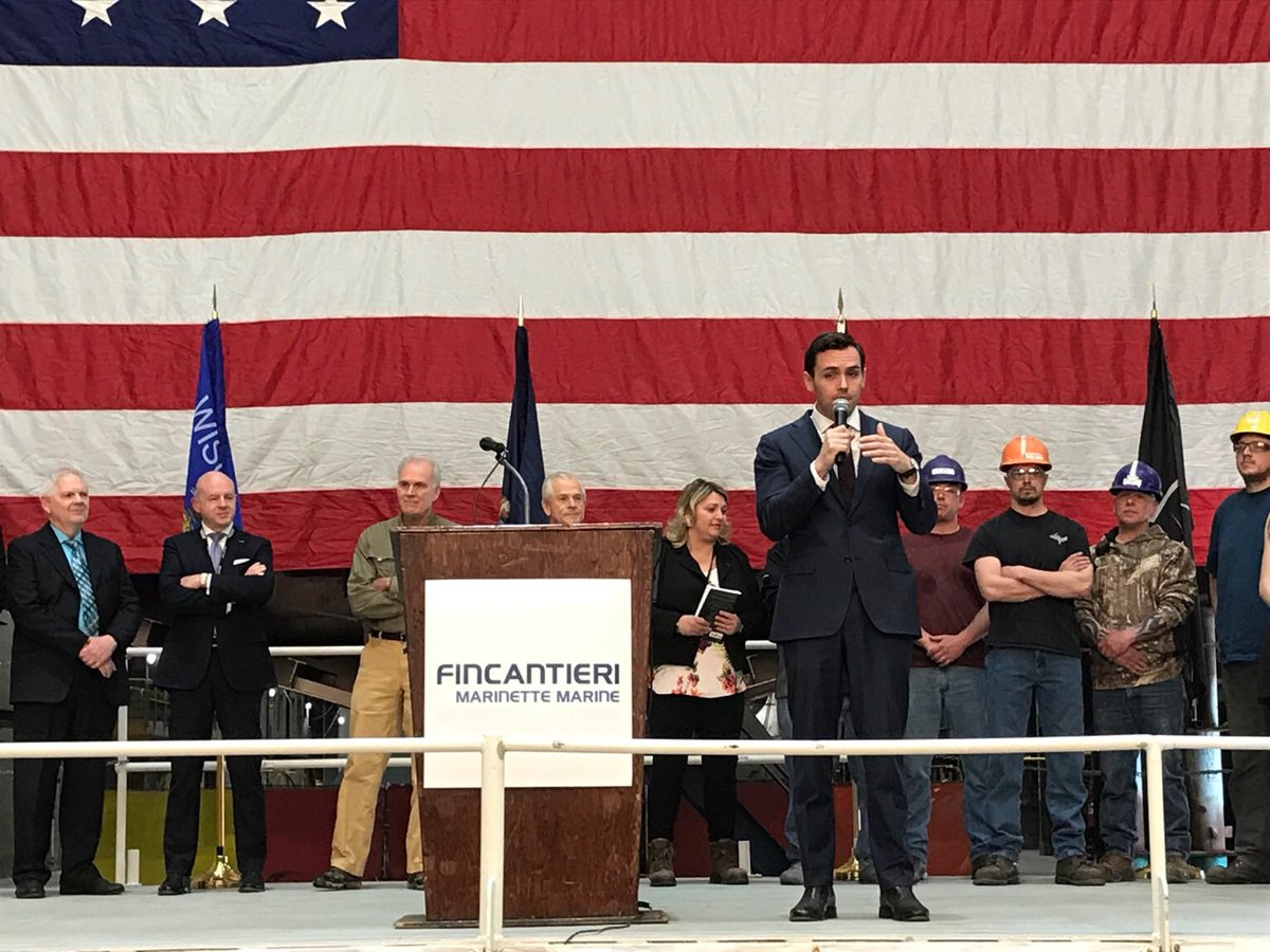 It was an honor to tour Fincantieri Marinette Marine this evening alongside @secnav76 and Dr. Peter Navarro. Marinette has made indispensable contributions to our Navy, and I'm glad Secretary Spencer and Dr. Navarro had the opportunity to see them firsthand.