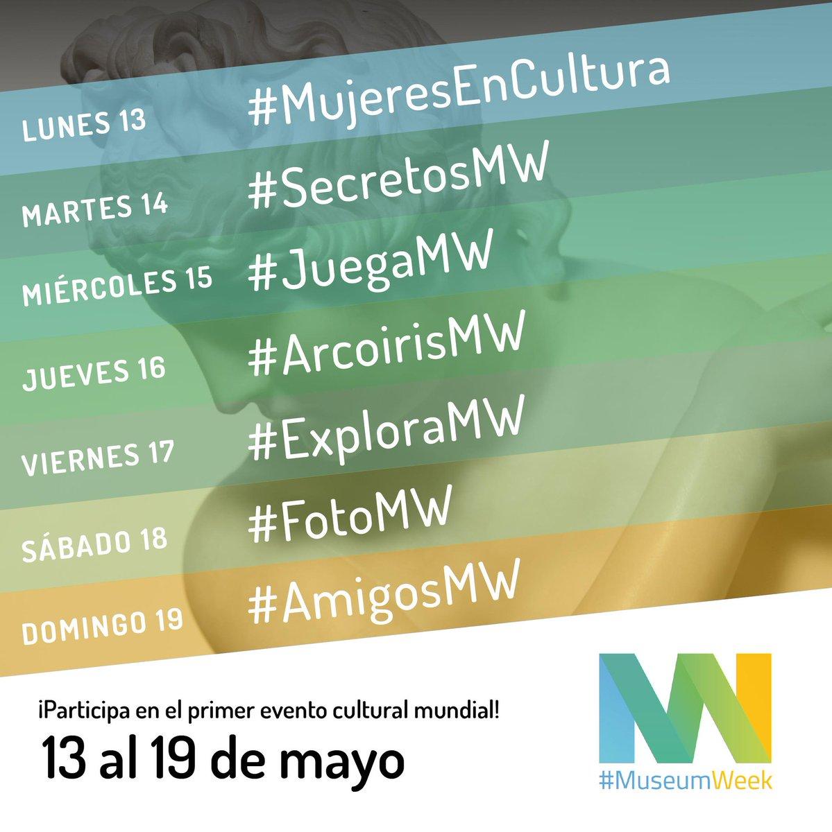 Hoy comienza la #MuseumWeek @MuseumWeek y estos son los # y temas para conversar: Lunes 13 👩🎨 #WomenInCulture Martes 14 🕵️♂️ #SecretsMW Miércoles 15 🎲 #PlayMW Jueves 16 🌈 #RainbowMW Viernes 17 🔎 #ExploreMW Sábado 18 📸 #PhotoMW Domingo 19 👥 #FriendsMW ¿Nos sumamos?