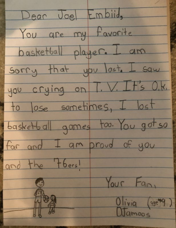 9 year old girl pencils encouraging note to @sixers center @JoelEmbiid after Game 7's  heartbreaking loss Sunday night against Toronto. @6abc