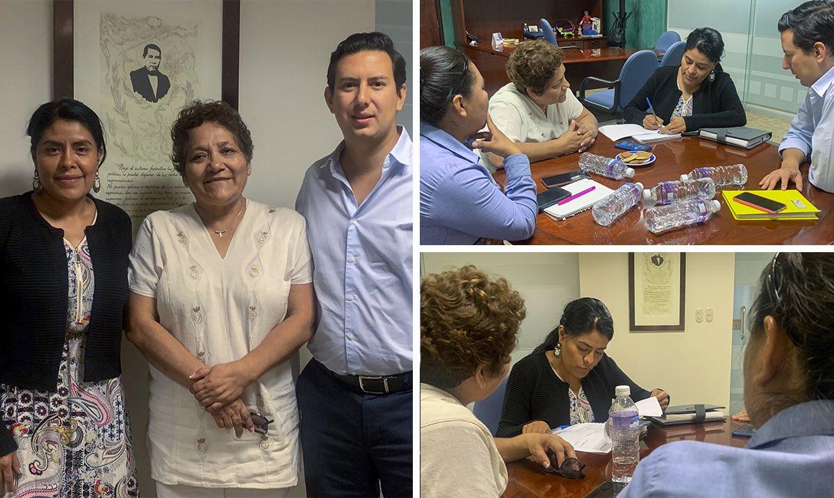 Con el objetivo de crear acciones que fomenten el desarrollo económico de #Oaxaca y mejorar la calidad de vida de sus habitantes, la secretaria de Pueblos Indígenas y Afromexicano @EufrosinaCruz sostiene reunión de trabajo con el secretario de la @Sec_EconomiaOax  @alejandromurat