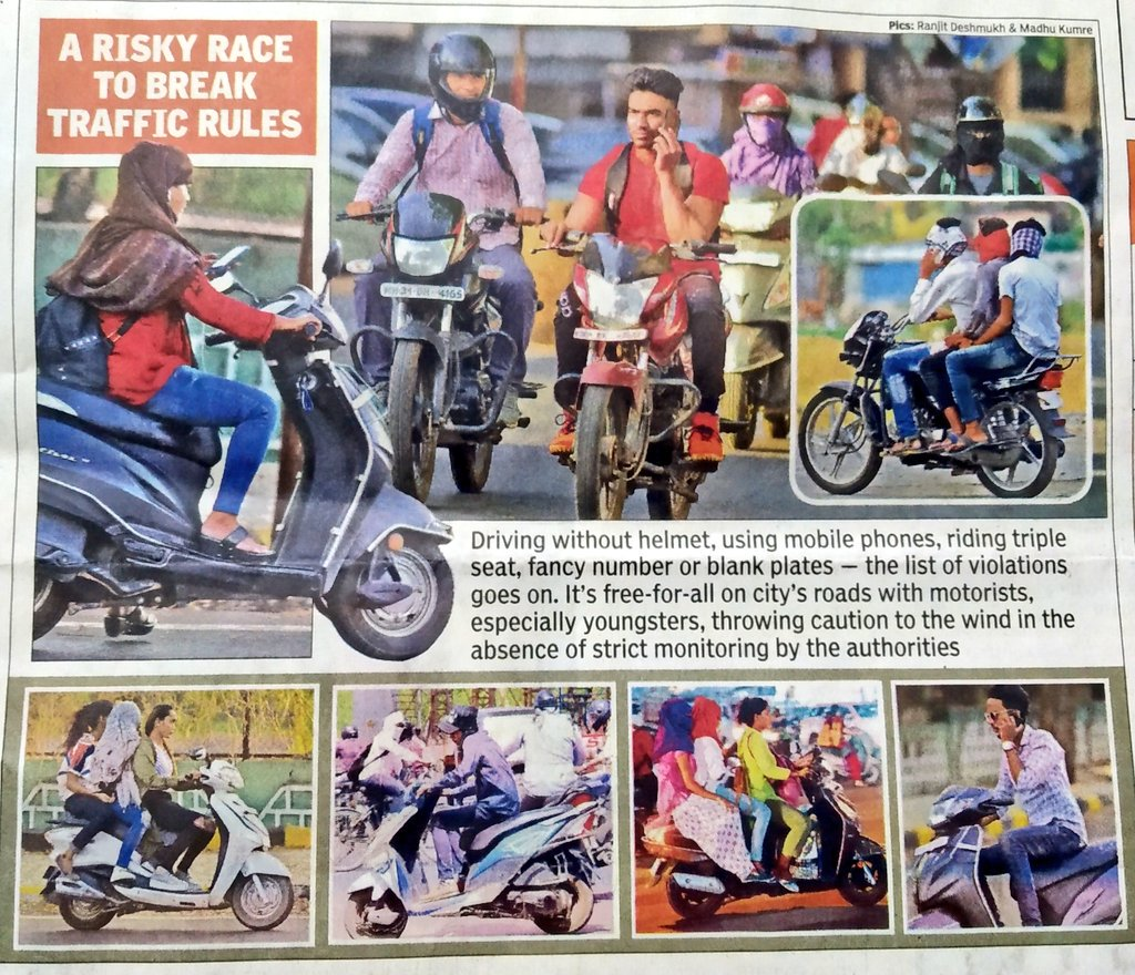 A risky race yo break traffic rules by TOI photograpers @RanjitVDeshmukh and Madhu Kumre exposes poor policing by @trafficngp