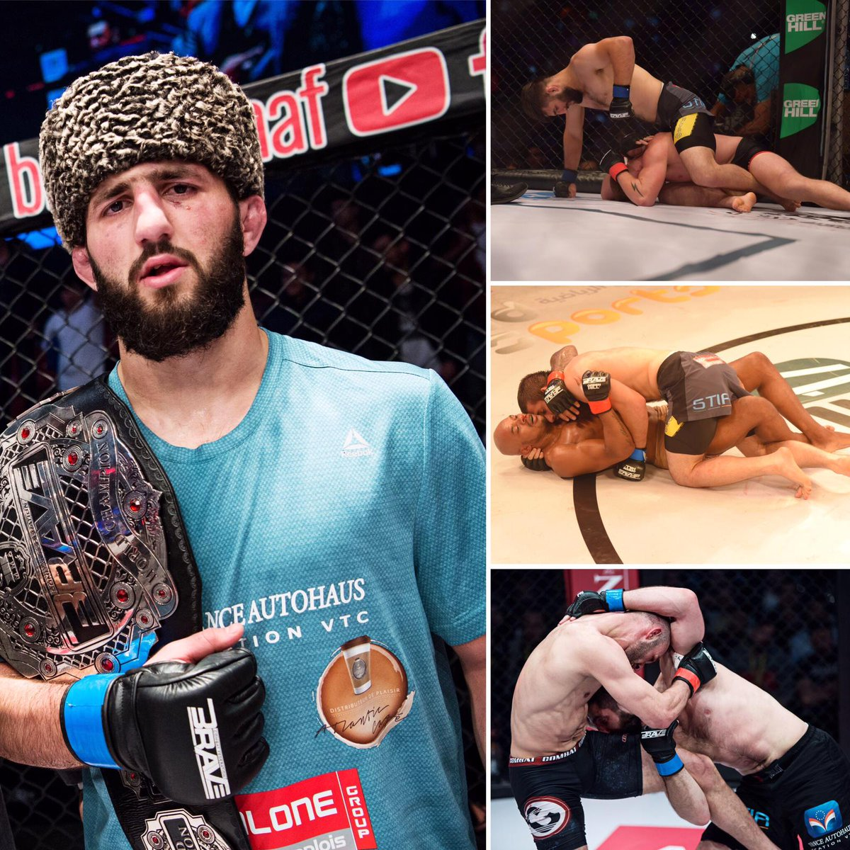 """He came, he saw, he conquered! 👑🔥 @abdouraguimov """"The Conqueror"""" #BRAVECF14 🇲🇦 - Debuts with 1st round TKO win #BRAVECF17 🇵🇰 - Win over Brazilian veteran via UD #BRAVECF23 🇯🇴- Maintains undefeated record and becomes #AndNew BARVE CF world champion."""