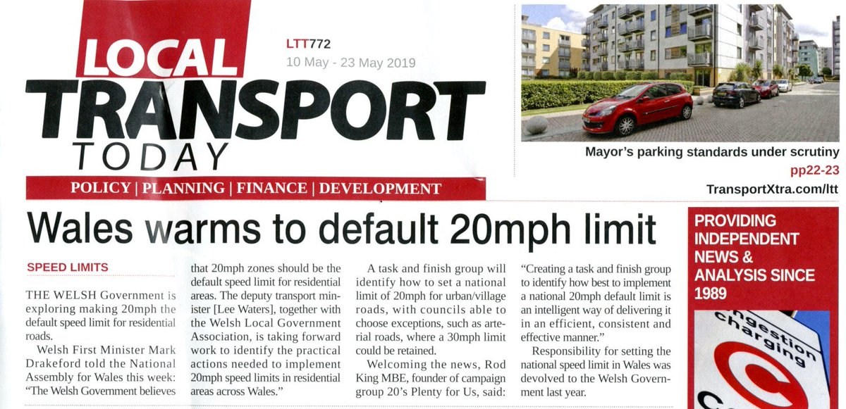 Good to see Wales moving towards a national default 20mph limit for urban and village roads. Will @theSNP maintain the 30mph limit set by Westminster in 1934 or will it use @markruskell 's 20mph bill to reduce the 60% of road casualties happening on its built-up roads?