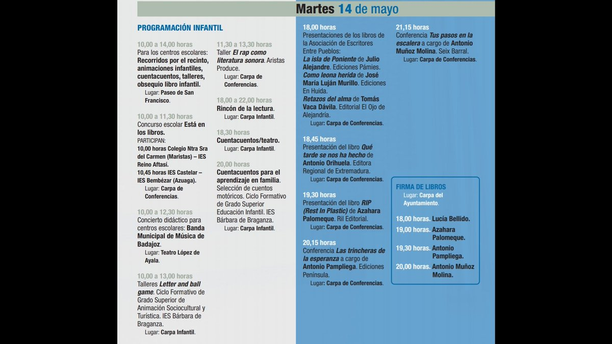 #feria #Libro #Badajoz  Programación martes 14 de mayo @FLBadajoz #FLB2019 https://t.co/3SUJKiJjEy