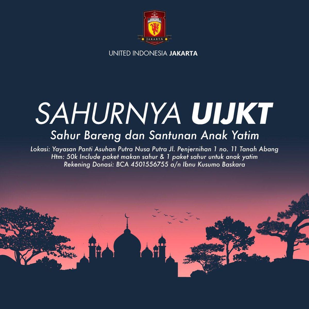 #UIJKT mengadakan acara Sahur bersama Anak Yatim Piatu di Benhil.  Sahur Bareng akan langsung dilaksanakan di Yayasan Panti Asuhan Putra Nusa Putra tgl 19 Mei nanti. Jika kalian berminat bisa menghubungi no WA di 085817193879 (Dika).  #SahurnyaUIJKT