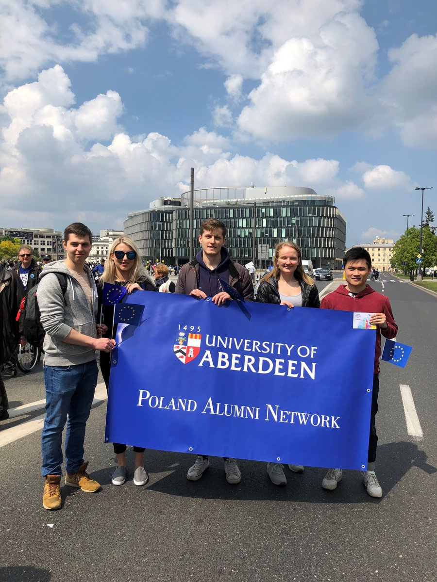 On Saturday our alumni in Warsaw walked behind the University of Aberdeen banner at the Europe Day Parade! Thank you to our wonderful alumni ambassadors for coordinating this! #Abdnfamily #Abdn2Europe