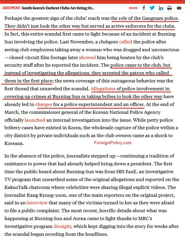 "FP: ""Allegations of #police involvement in covering up #crimes at #BurningSun or taking #bribes to look the other way have already led to charges for a police superintendent and an officer"" - https://foreignpolicy.com/2019/05/03/burningsun-kpop-rape-abuse-kidnap-south-koreas-darkest-clubs-are-being-dragged-into-the-light/ …  #BurningSunScandal #SouthKorea #chaebol #elite #scandal"
