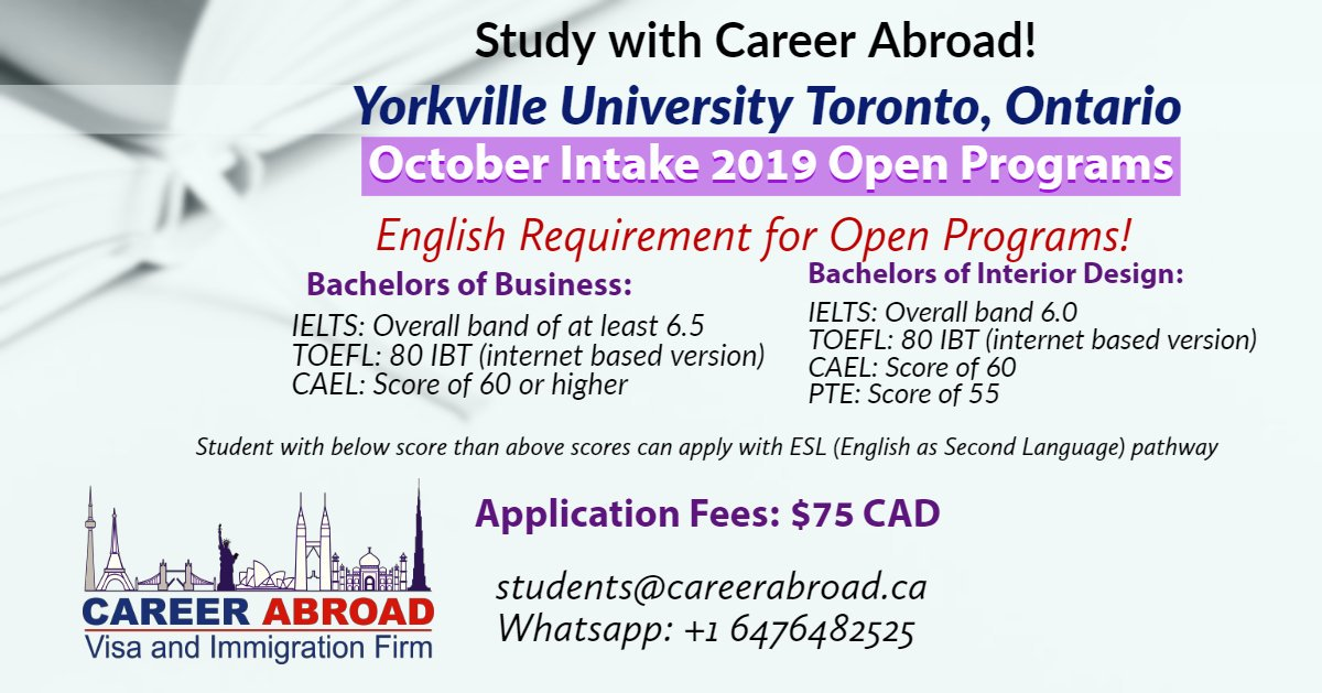 Career Abroad On Twitter October 2019 Intake Open Programs At Yorkvilleu Email Documents At Students Careerabroad Ca Dubai Europe Southamerica Southkorea Ukraine Mauritius Studyabroad Bachelos Students Canada Movetocanada Yorkville