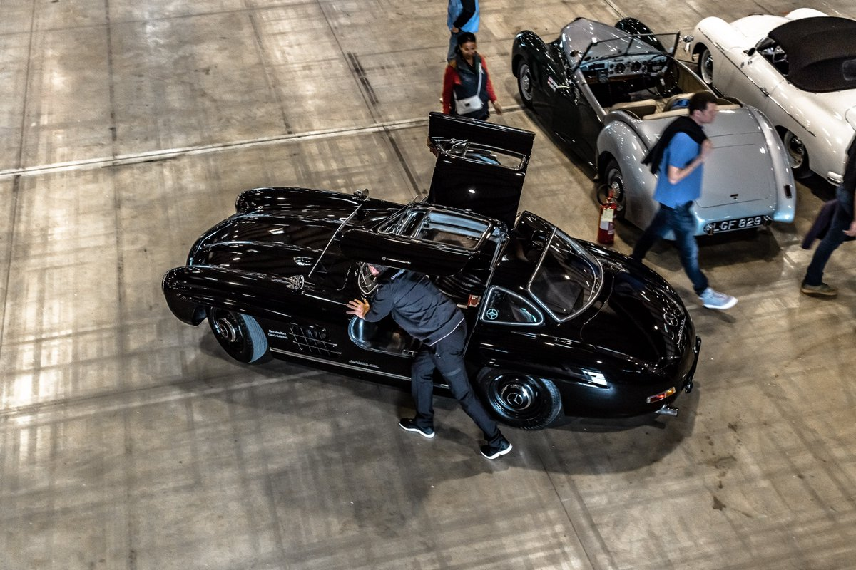 "Spread your wings, legend! We are unloading our first iconic  Mercedes-Benz 300 SL ""Gullwing"" for the Mille Miglia 2019. It does look  good in black, don't you think?    #MBmille #MBclassic"