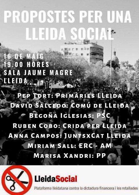Eleccions municipals #26M : Parlem de problemàtiques socials punyents: pobresa energètica, sensellarisme, acolliment de temporers, accès a la RGC, residències per la gent gran, habitatge, gestió de l' aigua,... 16M 19h Sala Jaume Magre #LleidaSocial
