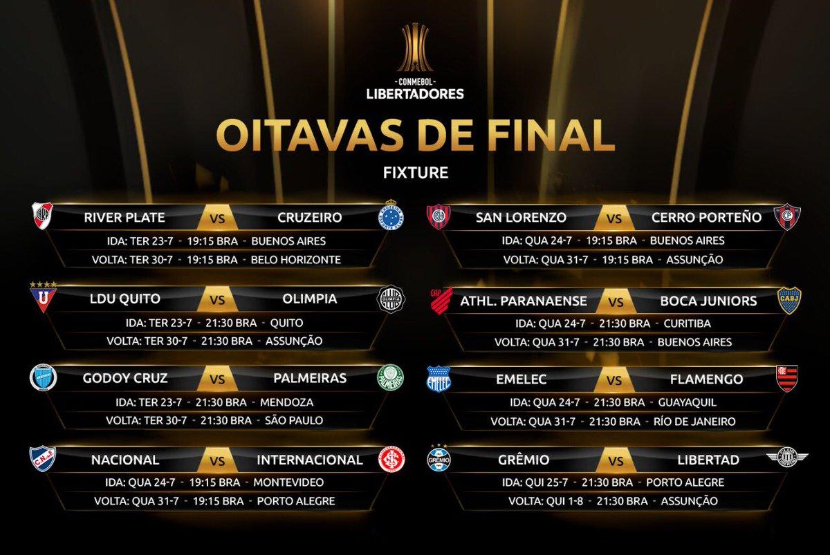 🔥📅 Anote aí! Datas e horários das oitavas de final da #Libertadores.  #Santiago2019 #GloriaEterna