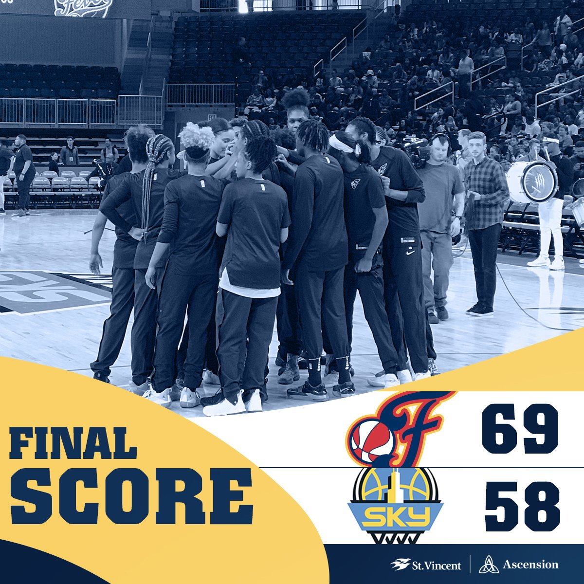 FINAL: #Fever 69, Sky 58  - @Kelz_Hoop finished with 1️⃣ 1️⃣ points and 4️⃣ assists - @BetnijahLaney with 8️⃣ points  #Fever20 | #AllForLove