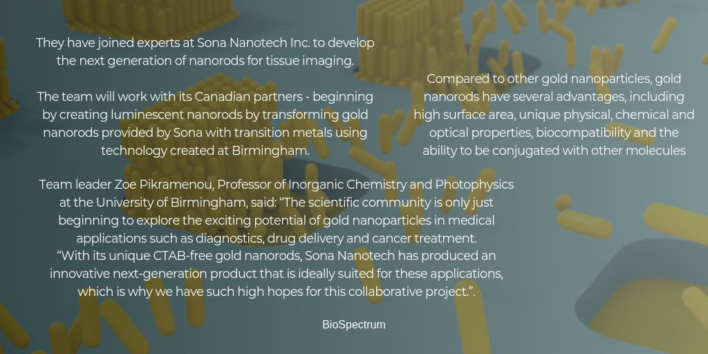 Researchers Develop Gold Nanorods to Kill Cancer Cell: Scientists at @unibirmingham are working with @SonaNanotech to investigate whether gold nanorods can be used to target cancer cells in the human body #Innovation #nanotechnology #healthtech  https://t.co/lx5PDrSM4v https://t.co/s5koYBo5CR