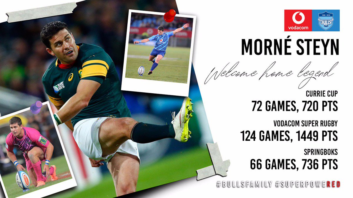 Morne Steyn to return to old stomping ground.  The Vodacom Blue Bulls Company (Pty) Ltd is pleased to confirm that Morne Steyn will re-join the Vodacom Bulls for the 2020 Vodacom Super Rugby season.  https://thebulls.co.za/news/morne-steyn-to-return-to-old-stomping-ground/ …