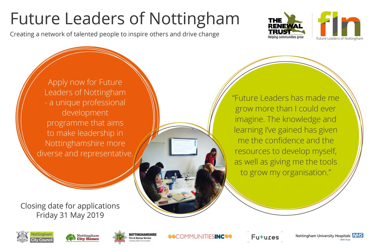 Make an impact and develop leadership skills through the Future Leaders of Nottingham professional development programme. Apply now:  http://bit.ly/FLNottm Closing date 31 May #diversity #leadership #career
