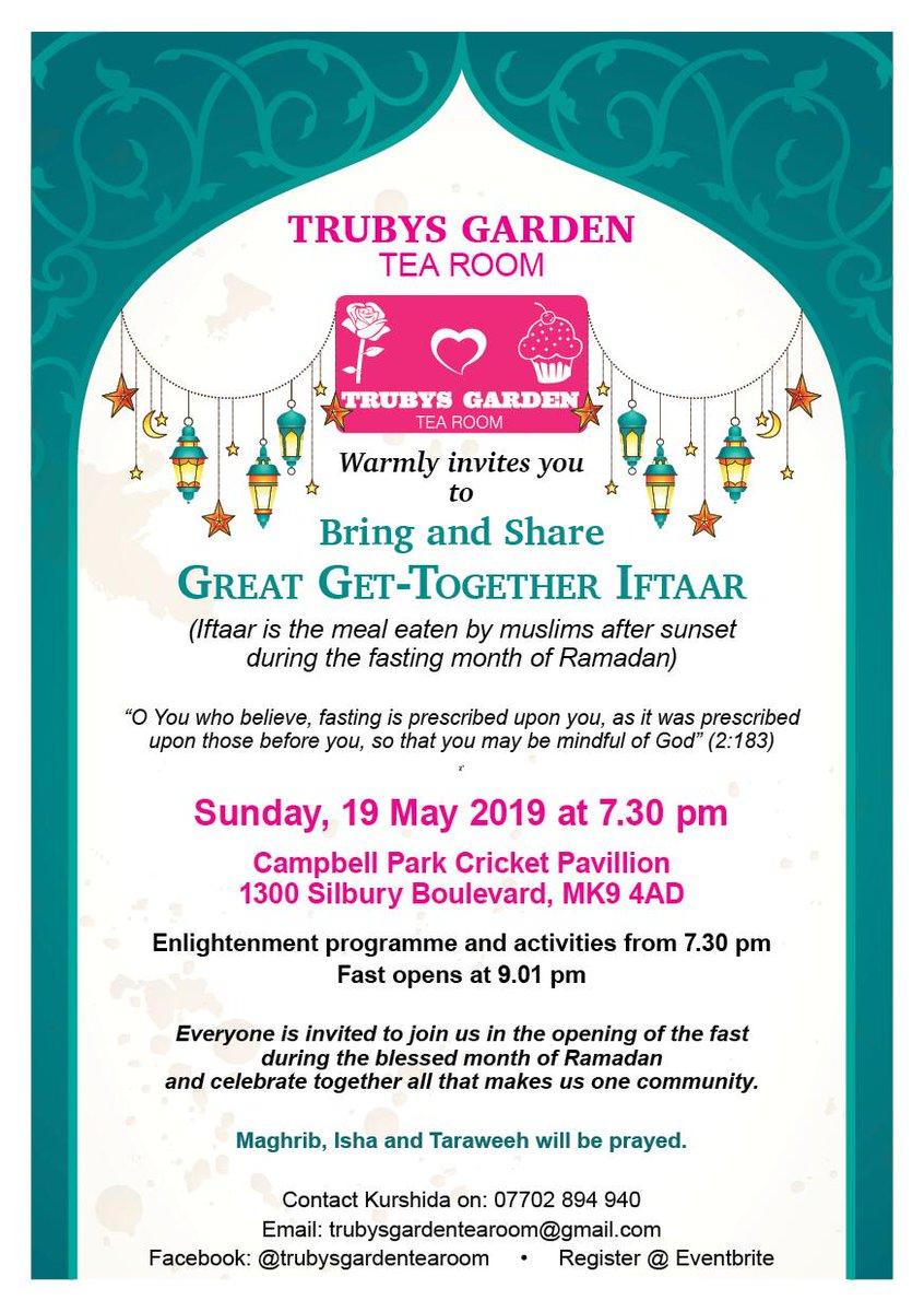 We're really looking forward to attending the Great Get-Together  Iftaar this Sunday 19th May 2019! Follow @TrubysGarden to find out more about this wonderful event, building positive relationships between communities in Milton Keynes. #Ramadam2019