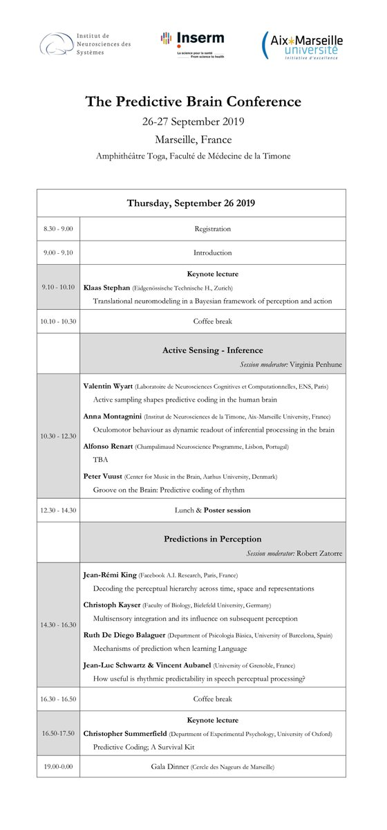 Updated program for the Predictive Brain Conference  at the INS, Marseille, France, on September 26-27 2019. Please visit the conference website, pass the word & register now! : https://ins-amu.fr/news/ins-conference-save-date…