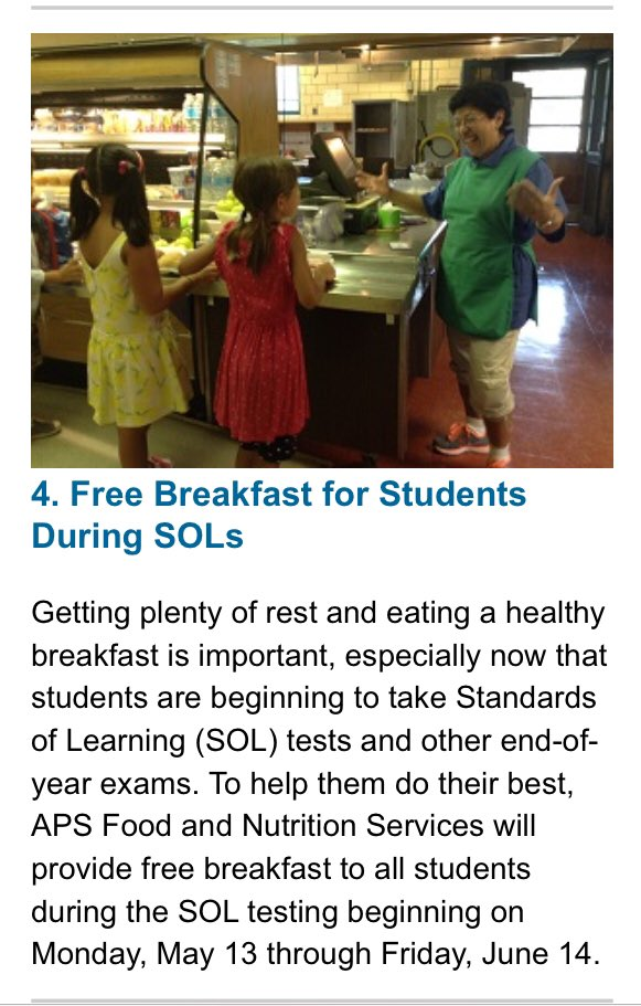 All students can get FREE breakfast from May 13-June 14! Thanks, APS Food and Nutrition Services!! <a target='_blank' href='http://search.twitter.com/search?q=APSisAwesome'><a target='_blank' href='https://twitter.com/hashtag/APSisAwesome?src=hash'>#APSisAwesome</a></a> <a target='_blank' href='http://search.twitter.com/search?q=RocktheSOLs'><a target='_blank' href='https://twitter.com/hashtag/RocktheSOLs?src=hash'>#RocktheSOLs</a></a> <a target='_blank' href='https://t.co/401N6y1Zag'>https://t.co/401N6y1Zag</a>