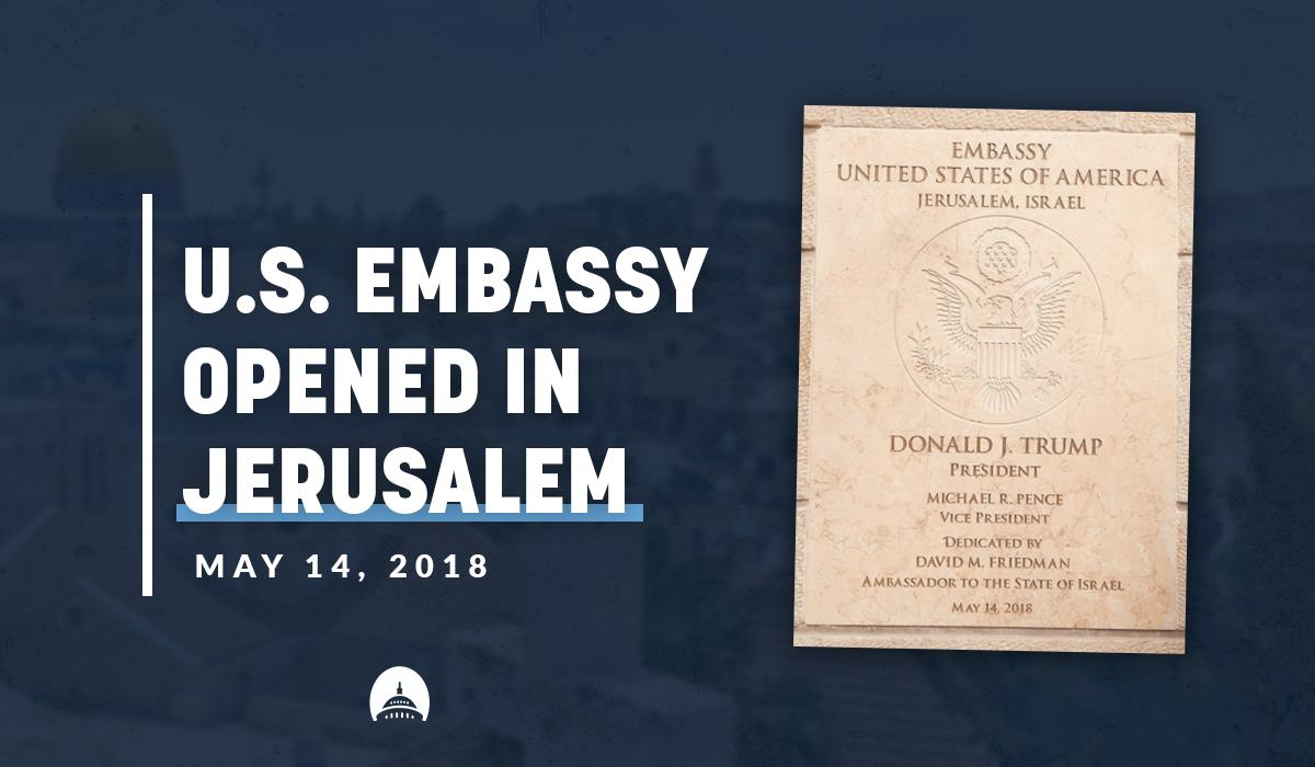 One year ago today, the United States embassy opened in Jerusalem, the rightful capital of Israel. Join us in celebrating this landmark move thanks to President Trump's leadership!