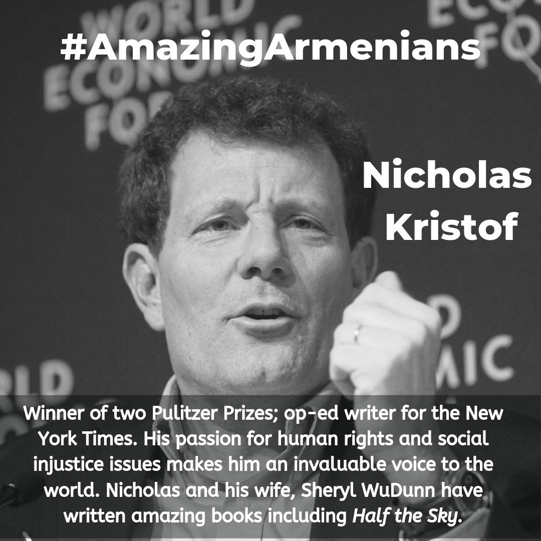 Thankful for #AmazingArmenians like @NickKristof Thank you for your amazing efforts to make the world a better place! https://t.co/I89hthnuPa