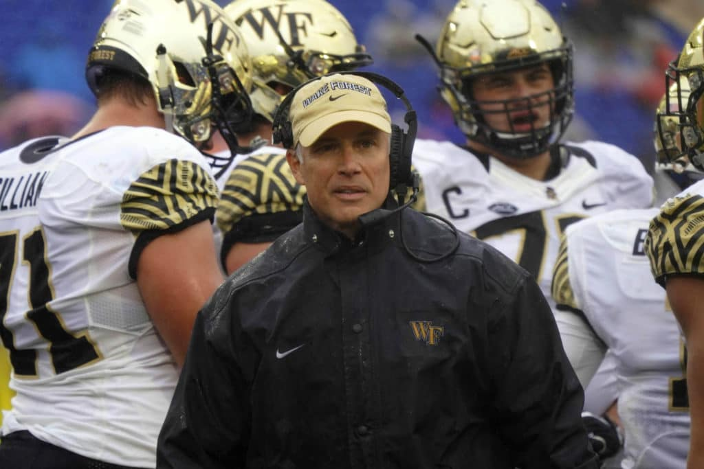 """""""We now have new facilities, we've won three straight bowls and there's this temptation to maybe do things differently. And I think we've just gotta stay with our formula.""""  @TheAthleticCFB's State of the Program: Wake Forest http://theathletic.com/970224"""