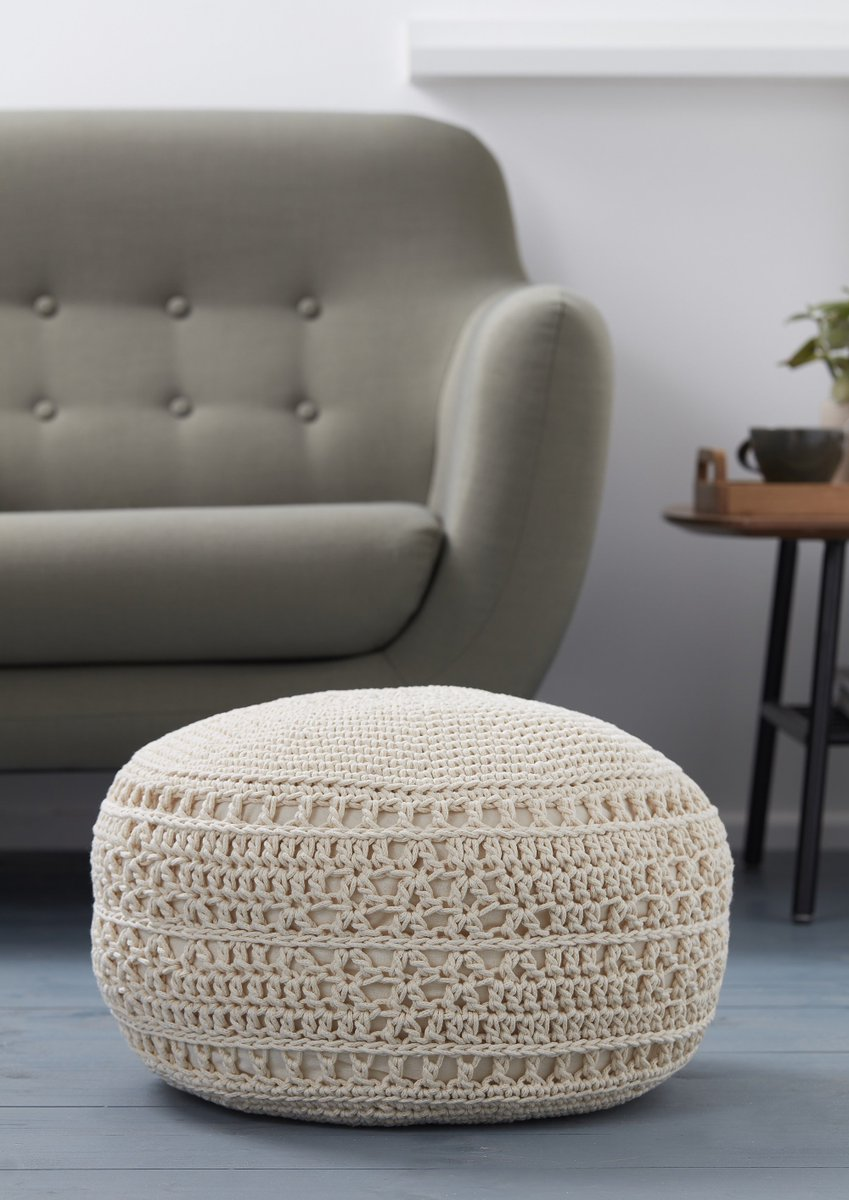 This Knitcrafthq Crochet Footstool Cover Would Make A Dreamy