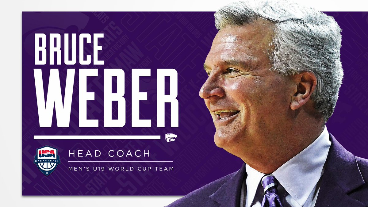 NEWS | #KStateMBB's Bruce Weber selected as head coach for USA Basketball U19 World Cup Team  Graduate manager Shane Southwell to serve as video coordinator.  🔗 http://k-st.at/30lo1pK