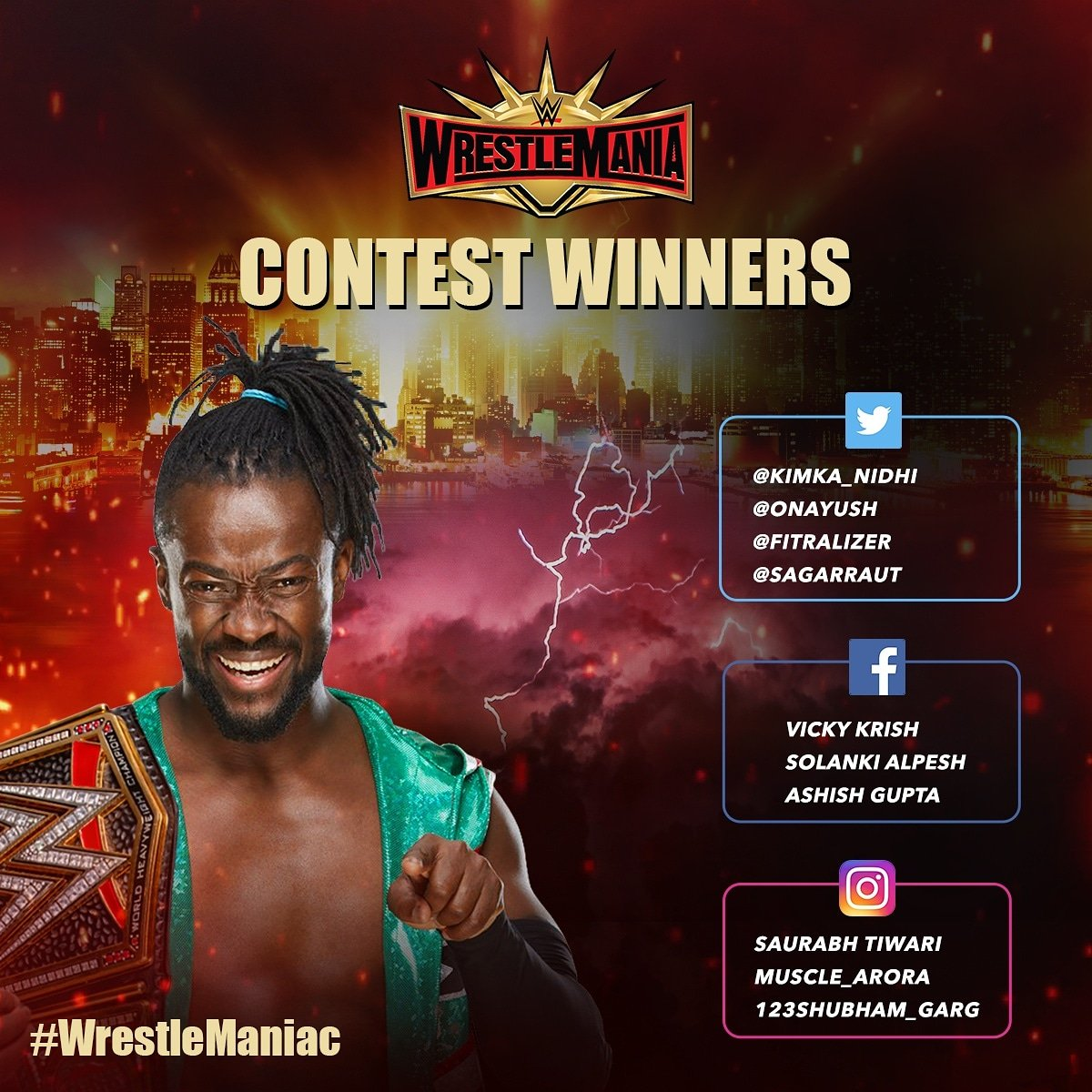 Congratulations to all WRESTLEMANIACS 👏  Kindly DM us your details to claim the official #WWE merchandise!  #SPNSports #WrestleManiac #WrestleMania