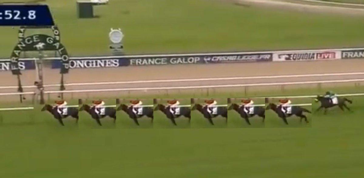 今さらだけどエイシンヒカリのイスパーン賞の10馬身差をざっくり検証してみた。やはり7馬身くらいに見える。